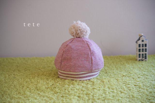 《再販》【Lサイズ】kidsニットベレー帽(杢ピンク×ボーダー)
