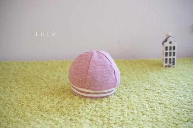 【Sサイズ】babyニットベレー帽(杢ピンク×ボーダー)ポンポンなし