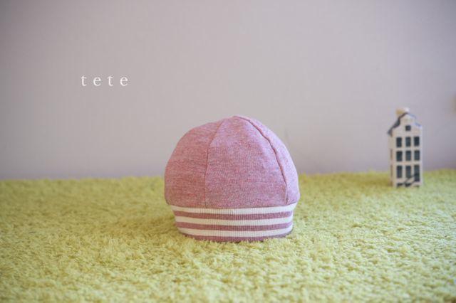 【Mサイズ】kidsニットベレー帽(杢ピンク×ボーダー)ポンポンなし