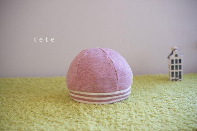【Lサイズ】kidsニットベレー帽(杢ピンク×ボーダー)ポンポンなし