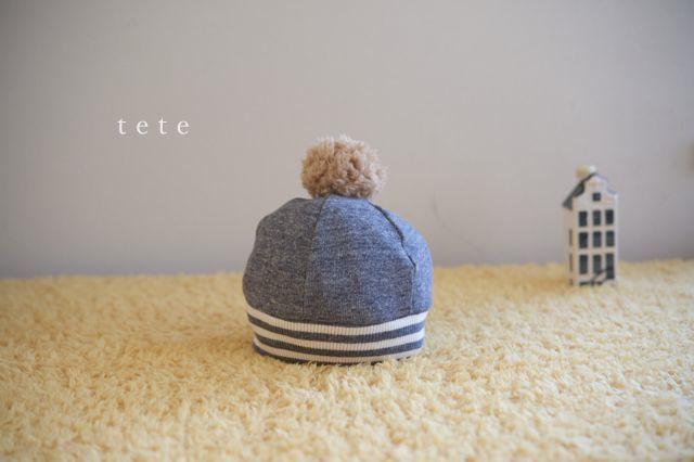 《再販》【Sサイズ】babyニットベレー帽(杢ネイビー×ボーダー)