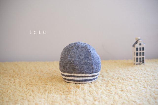 【Sサイズ】babyニットベレー帽(杢ネイビー×ボーダー)ポンポンなし