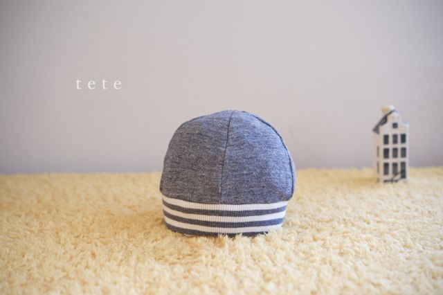 【Mサイズ】kidsニットベレー帽(杢ネイビー×ボーダー)ポンポンなし