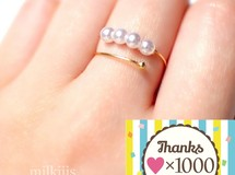 累計1230 4way!simple pearl ring*°