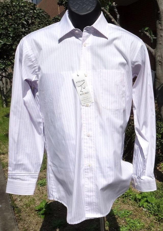 素敵な縞模様メンズシャツ前後同柄色違...
