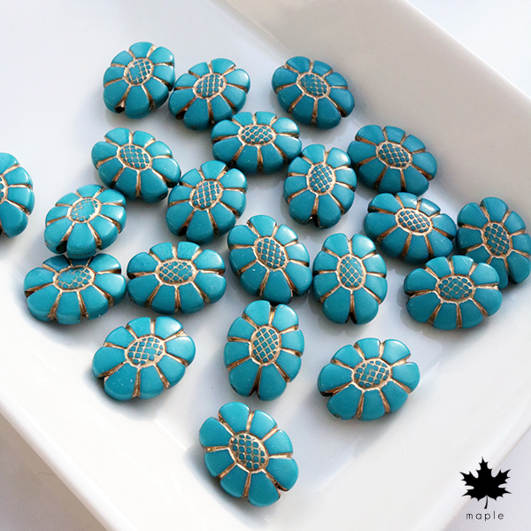 [10pcs] 20x15mm Antique Blue Flower Vintage Beads ・アンティーク アクリルビーズ