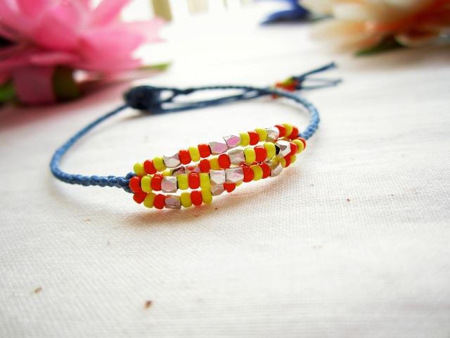 Thin Waxed Linen Bracelet. ~ s.d ~