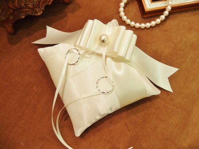 【手作りキット】シャンタンとリボンのリングピロー(ホワイト)