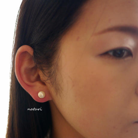【noix】sv925 gemstone pierce with pearl catches (2pcs)