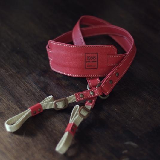 Camera strap #18 Red×Beige