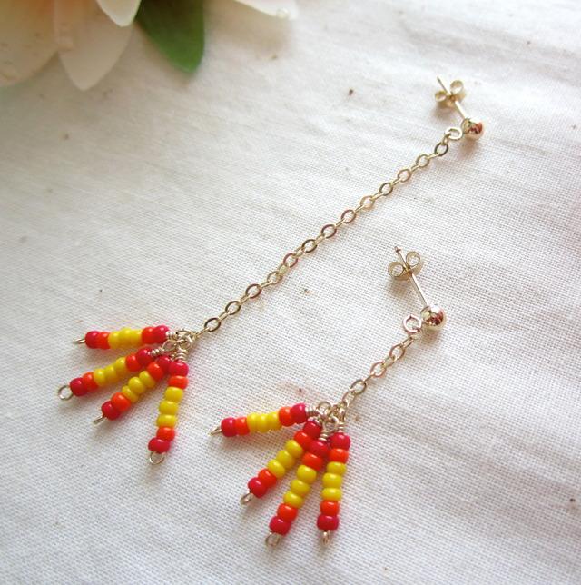 14K GF & Seed Beads Pierce. ~rg~
