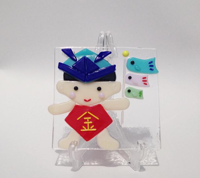 金太郎と鯉のぼりのガラスプレート