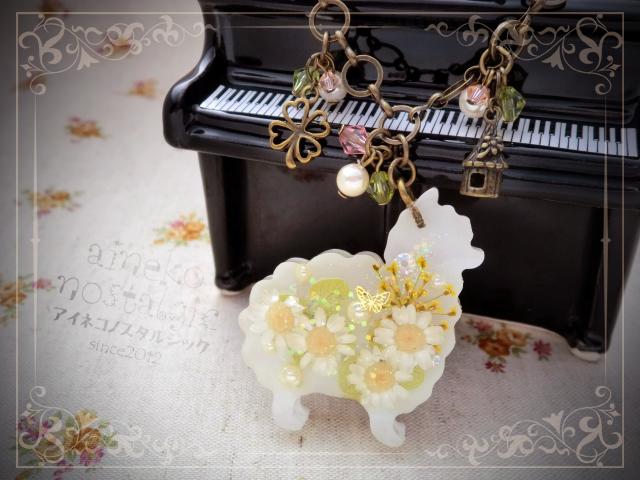 アルパカのバッグチャーム/AG/白花