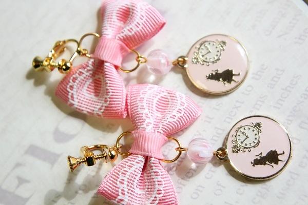 リボンとアリスのイヤリング(レース:ピンク)