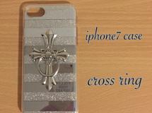 iphone7 ミラー?ソフトケース ?十字架リング付き