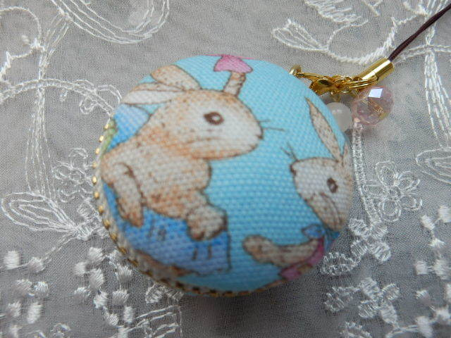 小型 やさしいウサギのマカロン 水色...