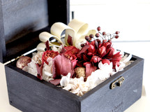 flower garden in wood box -red- #157