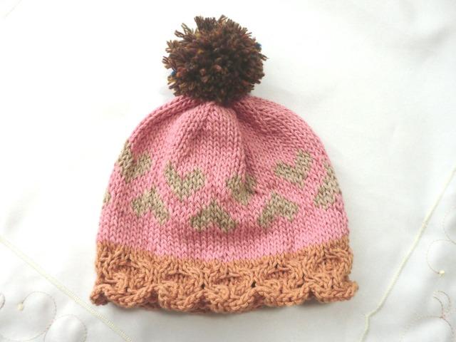 ウール入りコットンのポンポン付き帽子 ピンク