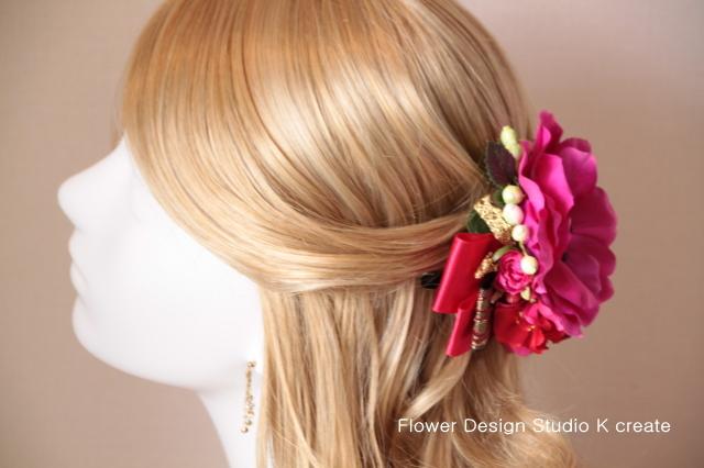 成人式に☆アネモネとフレンチフリルローズのヘッドドレス