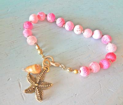 <SOLD> pink dragon agate bracelet