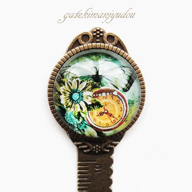 蝶と時計◆定規型ブックマーカー