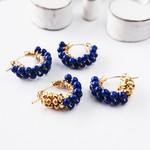 送料無料14kgf天然色Lapis lazuli gold bi-color wraped pierced earring / earring