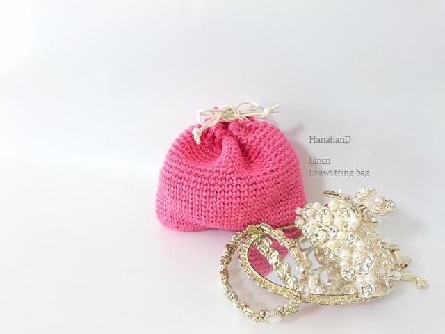 鮮やかカラーのリネン巾着*ピンク