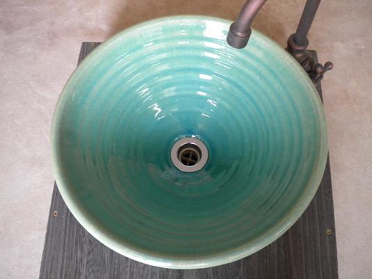 ブルーガラス(中)手洗い鉢