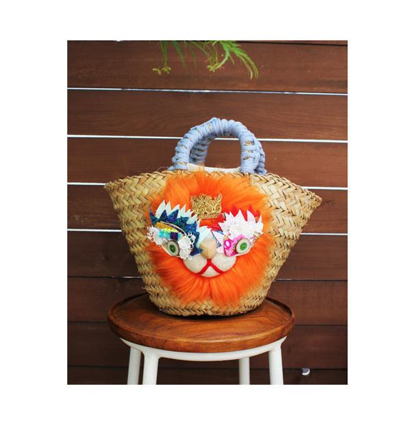 <再販>lion kago bag/Mオレンジ