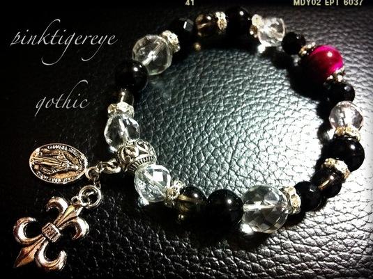 ピンクタイガーアイとオニキスのロザリオ ゴシックな個性的 天然石ブレス