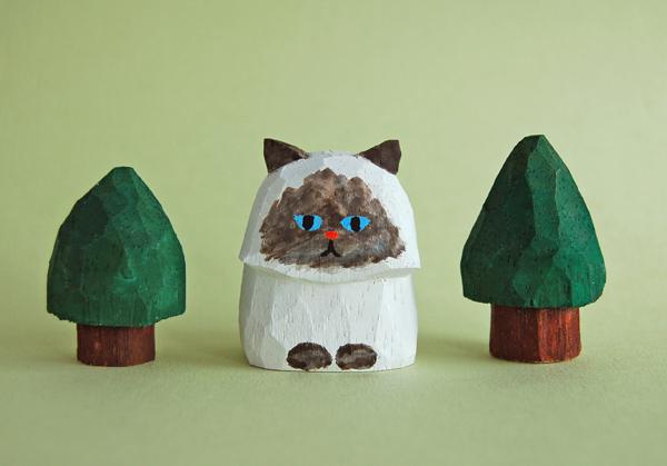 木彫り人形 ペルシャ猫1 ポイント柄  ...