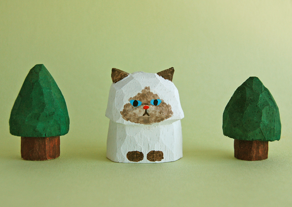 木彫り人形 ペルシャ猫2 ポイント柄  ...