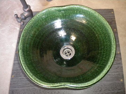 織部変形一品物手洗い鉢
