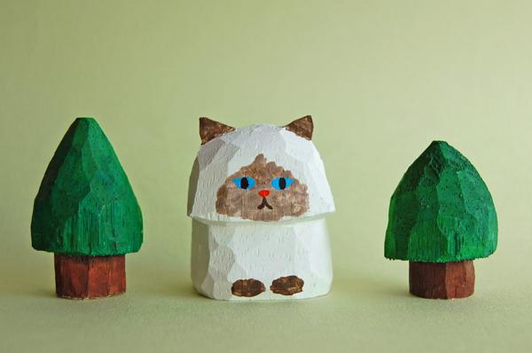 木彫り人形 ペルシャ猫3 ポイント柄  ...