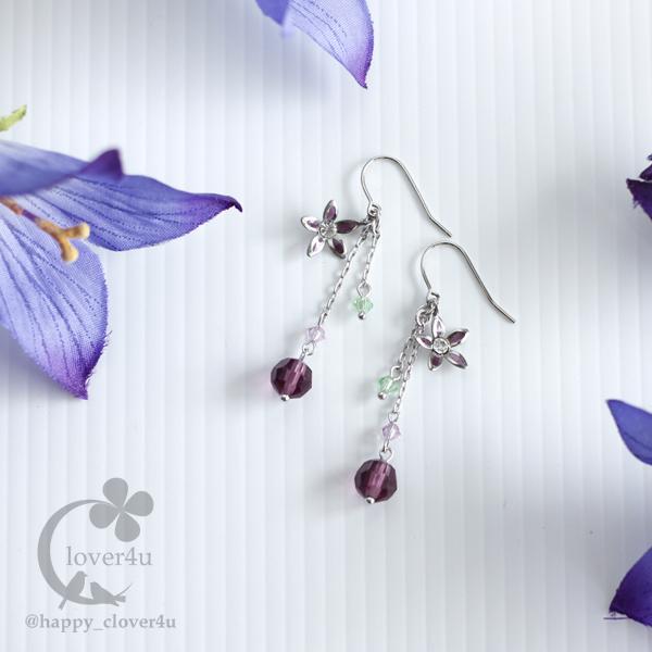 桔梗(ききょう)のピアス・紫/p730