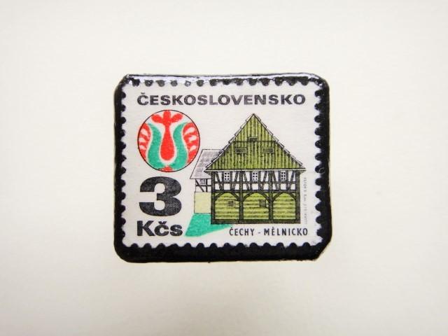 チェコスロバキア 切手ブローチ2491