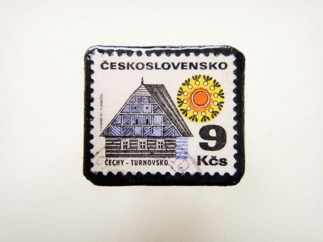 チェコスロバキア 切手ブローチ2494