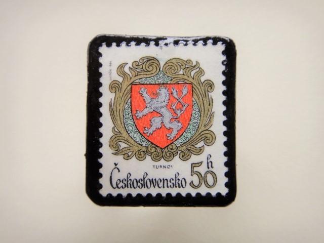 チェコスロバキア 切手ブローチ2495
