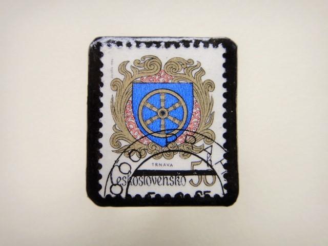 チェコスロバキア 切手ブローチ2496