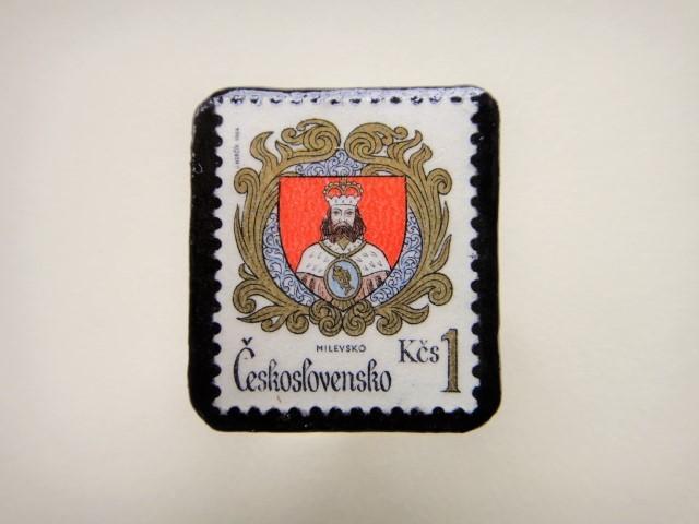 チェコスロバキア 切手ブローチ2497
