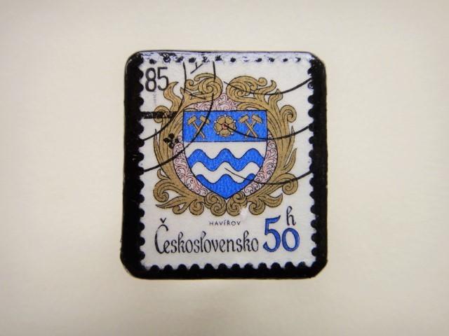 チェコスロバキア 切手ブローチ2498