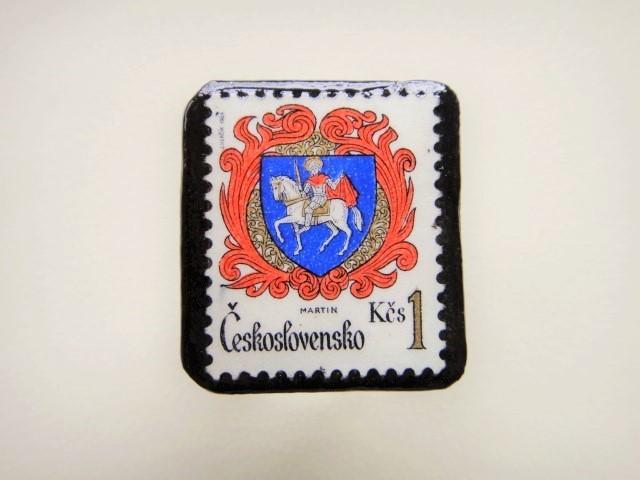 チェコスロバキア 切手ブローチ2499