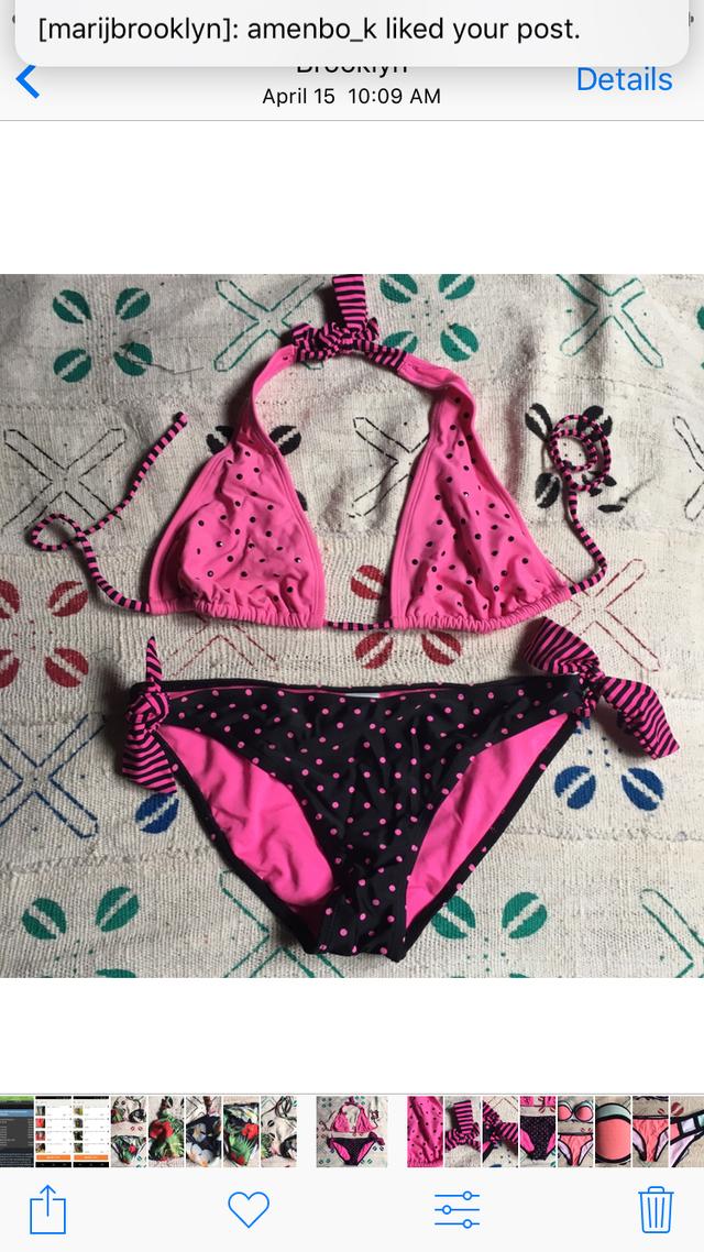 蛍光ピンク 水玉 ストライプ ビキニ