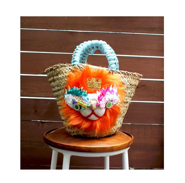 <再販>lion kago bag/Mオレンジ