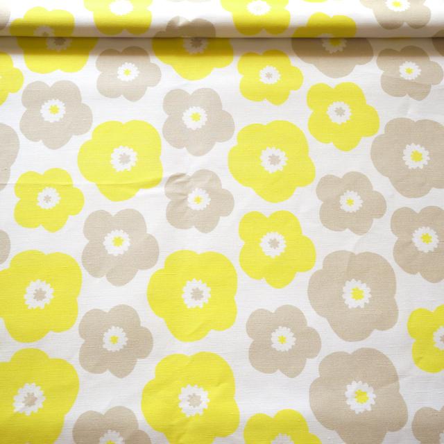 popy (yellow-baige grey) リネンコッ...