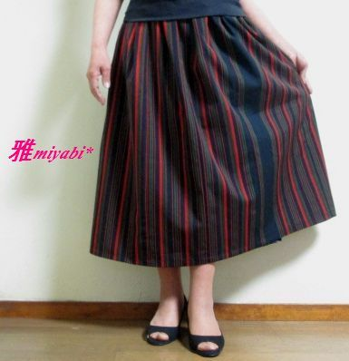 裏付モダンな縦縞ふんわり着物スカート