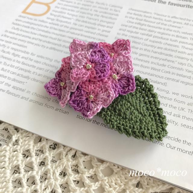 紫陽花のブローチ(ピンクミックス)