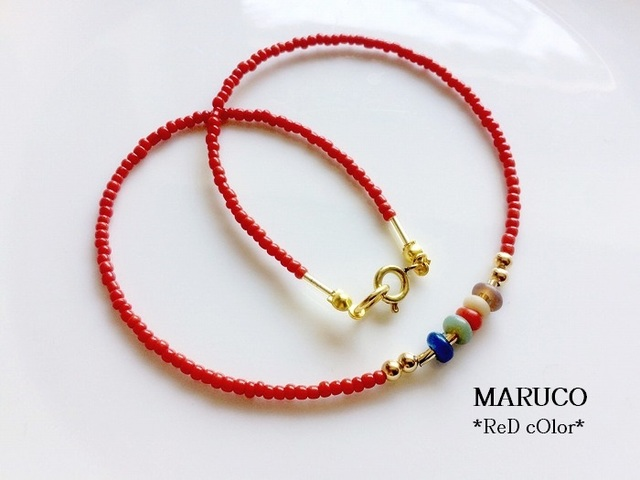 39-50アンティークBali-Glass*珊瑚色RED...