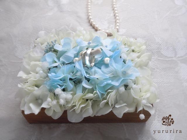珊瑚とハイドレンジアのリングピロー