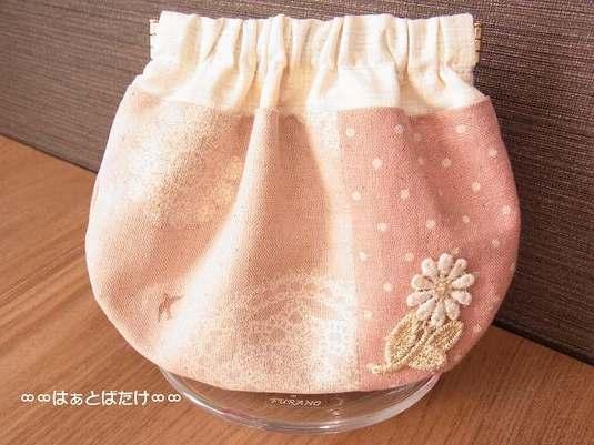 ばね口ポーチ|ピンクドイリー柄×水玉